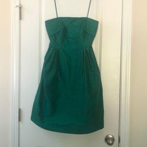 J.Crew Strapless Emerald Green Silk Dress